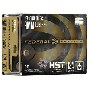 Federal Personal Defense HST Handgun Ammunition 9mm Luger( +P) 124 gr JHP 20/ct