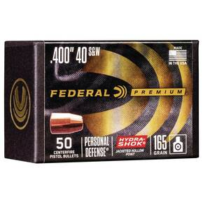 "Federal Hydra Shok Component Bullets .40 S&W .400"" 165 gr HYDRA SHOK JHP 50/rd"