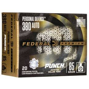 Federal Personal Defense Punch Handgun Ammuntion .380 Auto 85 gr JHP 20/ct