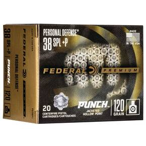 Federal Personal Defense Punch Handgun Ammuntion .38 Spl(+P) 120 gr JHP1000 fps  20/ct