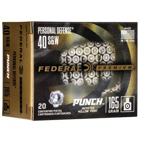 Federal Personal Defense Punch Handgun Ammuntion .40 S&W 165 gr JHP 1130 fps 20/ct