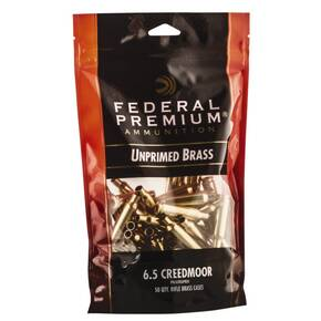 Federal Premium Unprimed Brass Rifle Cartridge Cases 6.5 Creedmoor 50/ct