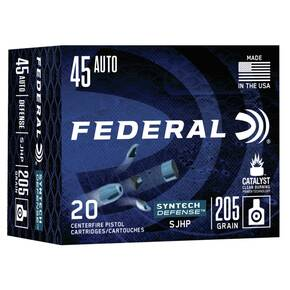 Federal  Syntech Defense Handgun Ammuntion .45 ACP SJHP 830 fps 20/ct