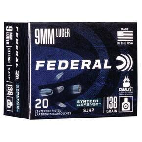 Federal  Syntech Defense Handgun Ammuntion 9mm Luger 138 gr SJHP 1130 fps 20/ct