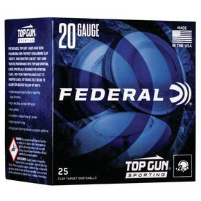 "Federal Top Gun Sporting Shotshells 20ga 2-3/4"" 7/8 oz 1250 fps #8 25/ct"
