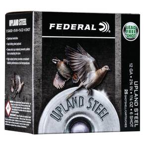 "Federal Upland Steel Shotshells 12ga 2-3/4"" 1-1/8 oz 1400 fps #6 25/ct"