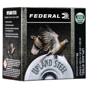 "Federal Upland Steel Shotshells 20ga 2-3/4"" 7/8 oz #6 1500 fps 25/ct"