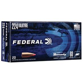 Federal Varmint & Predator Rifle Ammunition .224 Valkyrie  60 gr V-MAX 3300 fps 20/ct