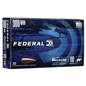 Federal Varmint & Predator Rifle Ammunition .308 Win 110 gr V-MAX 3300 fps 20/ct
