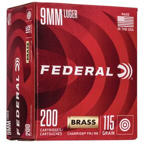 Federal Champion Training Handgn Ammuntion 9mm Luger 115 gr FMJ 1125 fps 200/ct
