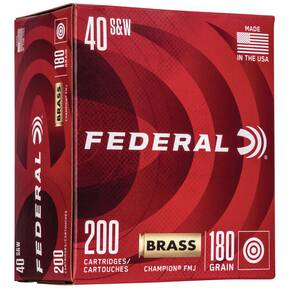 Federal Champion Training Handgn Ammuntion .40 S&W 115 gr FMJ 985 fps 200/ct