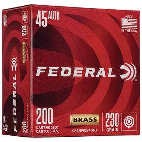 Federal Champion Training Handgn Ammuntion .45 ACP 230 gr FMJ 830 fps 200/ct