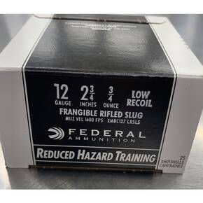 "Federal Reduced Hazard Low Recoil Frangible Shotshells 12 ga 2-3/4"" 3/4 oz 1600 fps Slug 25/ct"