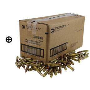 Federal XM193 NATO Rifle Ammunition 5.56mm 55 gr FMJ 3240 fps 12500/ct