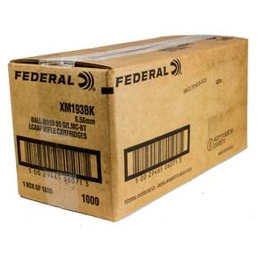 Federal XM193 NATO Ammunition -  5.56mm 55gr FMJ 3165 fps 1000/ct