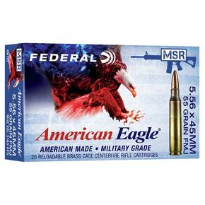 Federal American Eagle XM193 Ammunition 5.56mm 55 gr FMJ 3165 fps 20/ct