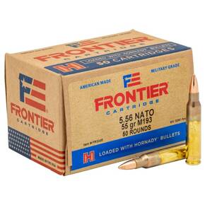 Hornady Frontier Rifle Ammunition XM193 5.56mm NATO 55 gr FMJ 3240 fps 50/ct