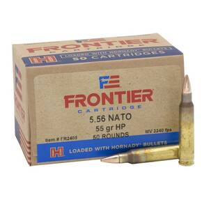 Hornady Frontier Rifle Ammunition 5.56mm NATO 55 gr HP Match 3240 fps 50/ct