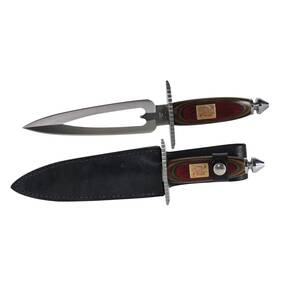 "Frost Cutlery Queen of Hearts III Dagger with Black Leather Sheath - 11-3/4"" Overall Length, Frostwood Handle"