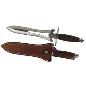 "Frost Cutlery Lancelot Dagger I - 13-1/2"" Length Overall with Brown Leather Sheath, Brown Pakkawood Handle"