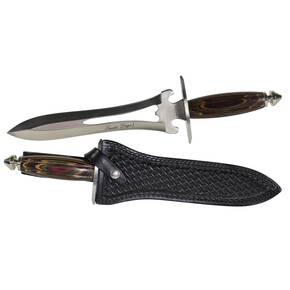 "Frost Cutlery Lancelot Dagger I - 13-1/2"" Length Overall with Leather Sheath, Frostwood Handle"