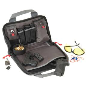 G-Outdoors Double Pistol Case with Magazine Storage & Dump Cup-Black