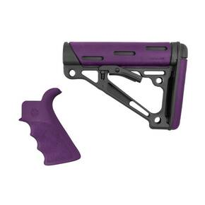 Hogue AR-15/M-16 2-Piece Kit Purple- Grip and Collapsible Buttstock - Fits Mil-Spec Buffer Tube
