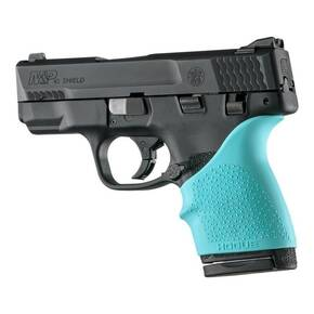 Hogue HandAll Beavertail Grip Sleeve fits S&W M&P Shield 45, Kahr P9/P40/CW9/CW40-Aqua