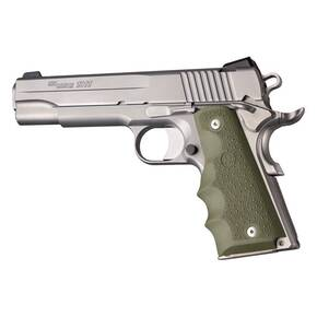 Hogue 1911 Govt. Model OD Green Rubber Grip with Finger Grooves