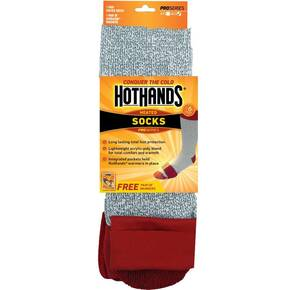 HeatMax HotHands Heated Socks - Sock size 9-11 Red/Grey