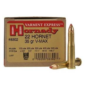 Hornady Varmint Express Rifle  Ammunition .22 Hornet 35 gr V-MAX 3100 fps - 20/box
