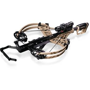 Bear Archery Fisix FFL Crossbow Package with Trophy Ridge SpeedComp Illum. Reticle XV525IR Scope & Cocking Sled - Sand