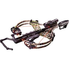 Bear Archery Fisix FFL Crossbow Package with Trophy Ridge SpeedComp Illum. Reticle XV525IR Scope & Cocking Sled - Camo