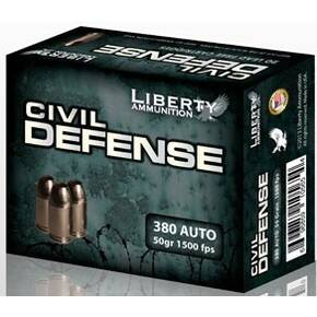Liberty Civil Defense Handgun Ammunition .380 Auto 50 gr SCHP 1500 fps 20/ct