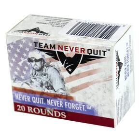 Team Never Quit Pistol Duty Handgun Ammunition .45 ACP 185 gr SCHP 20/ct