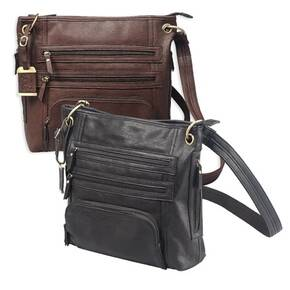 Bulldog Large Cross Body Style Purse w/Holster - Chocolate Brown