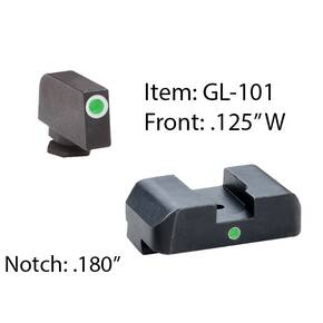 Ameriglo Tritium i-Dot Night Sight for Glock 17-39 / Front Tritium - Green / Front Outline - White / Rear - Green, Square Notch