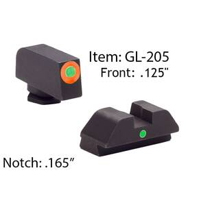 Ameriglo Glock Tritium I-Dot Night Sight Set for Glock 42, 43 - Orange Outline Front / Single Green Dot Rear