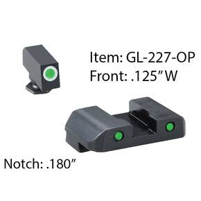 Ameriglo Pro Operator Night Sight Set for Glock 17-39 / Front Tritium - Green / Front Outline - White / Rear Tritium - Green / Rear Outline - Black