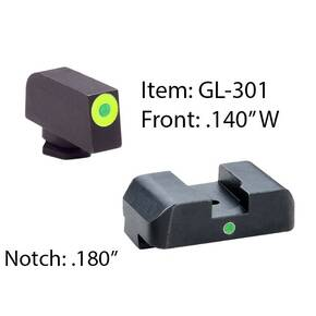 Ameriglo Tritium i-Dot Night Sight Set for Select Glocks / Front Outline Color - LumiGreen / Rear Metal Style
