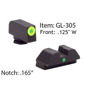 Ameriglo Glock Tritium I-Dot Night Sight Set for Glock 42, 43 - Lime Outline Front / Single Green Dot Rear