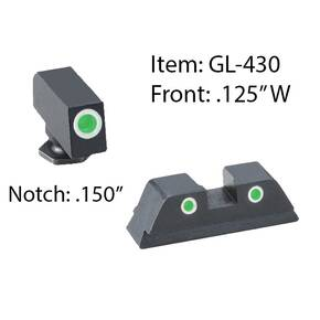 Ameriglo Classic 3 Dot Night Sight Set for Glock 42/43 / Front Tritium - Green / Front Outline - White / Rear Tritium - Green / Rear Outline - White