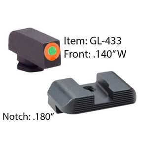 Ameriglo Hackathorn Sight Set for Glock 17-39 Front Tritium - Green / Front Outline - Orange / Rear - Black Serrated