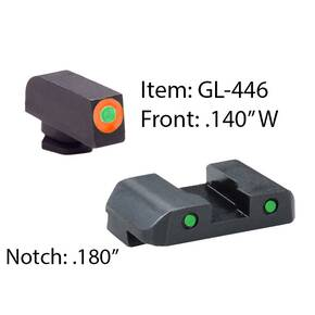 Ameriglo Spartan Operator Tritium Night Sight Set for Glock 17-39 Front - Green/Front Outline - Orange/Rear - Green/Rear Outline - Black