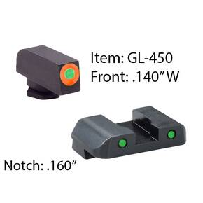 Ameriglo Spartan Operator Night Sight Set for Glock 42-43 / Front Tritium - Green / Front Outline - Orange / Rear Tritium - Green / Rear Outline - Black