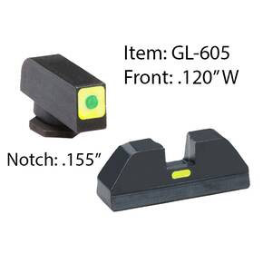 Ameriglo Glock CAP Set For Glock 42, 43 - Green Tritium Lime Green Lumi Square Outline Front/Rear