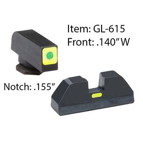 Ameriglo Glock CAP Sight Set For Glock 20, 21, 29, 30, 31, 32, 36, 40, 41 - Green Tritium Lime Green Lumisquare Outline Front/Rear