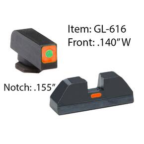 Ameriglo Glock CAP Sight Set For Glock 17, 19, 22, 23, 24, 26, 27, 33, 34, 35, 37, 38, 39 - Green Tritium Orange Sq Outline Front/Rear