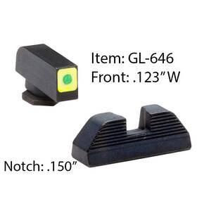 Amerigo Spaulding & CAP-LE Sight Set for Select Glocks / Front Tritium - Green / Front Outline - LumiGreen / Style - Spaulding / Rear - Black Serrated