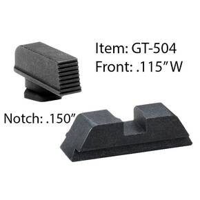 "Ameriglo Defoor Performance Black Sight Set for Glock 17-39 / Front Width .115"" / Rear Notch .150"""